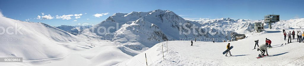 Ski resort panoramic French alpes stock photo