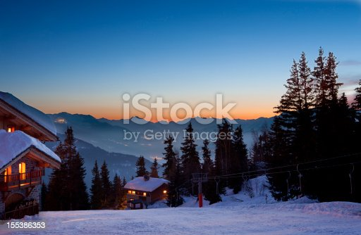 ski resort at dusk