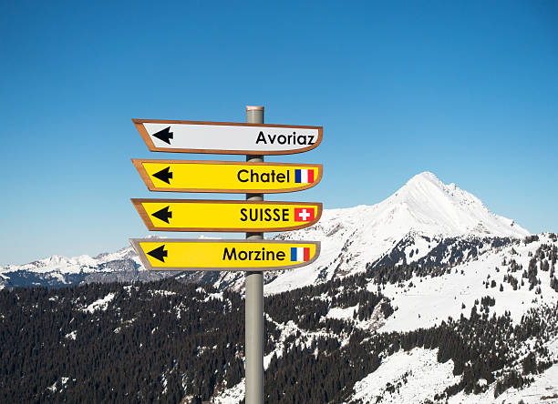 Ski resort signs on the Switzerland France border - Photo