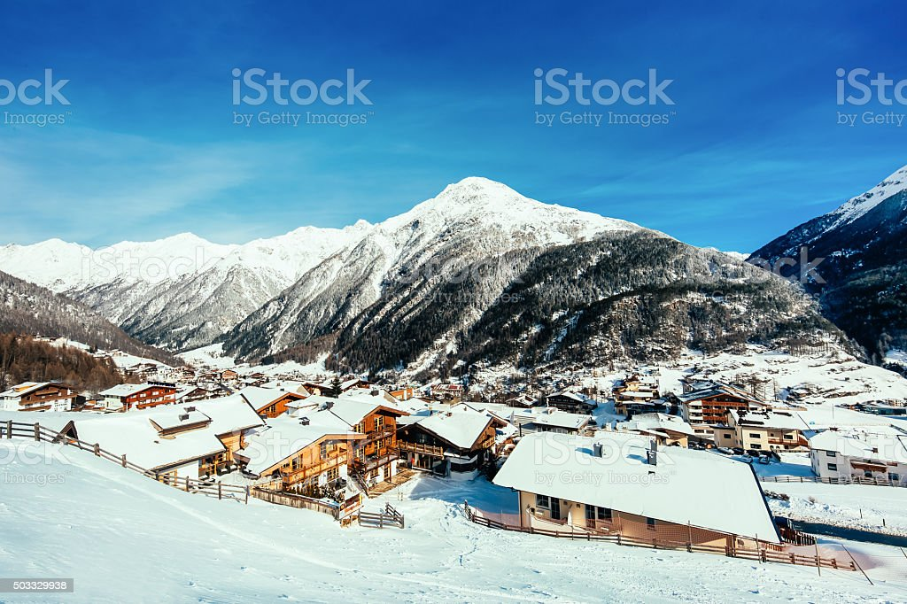 Ski resort Soelden Vintage look stock photo
