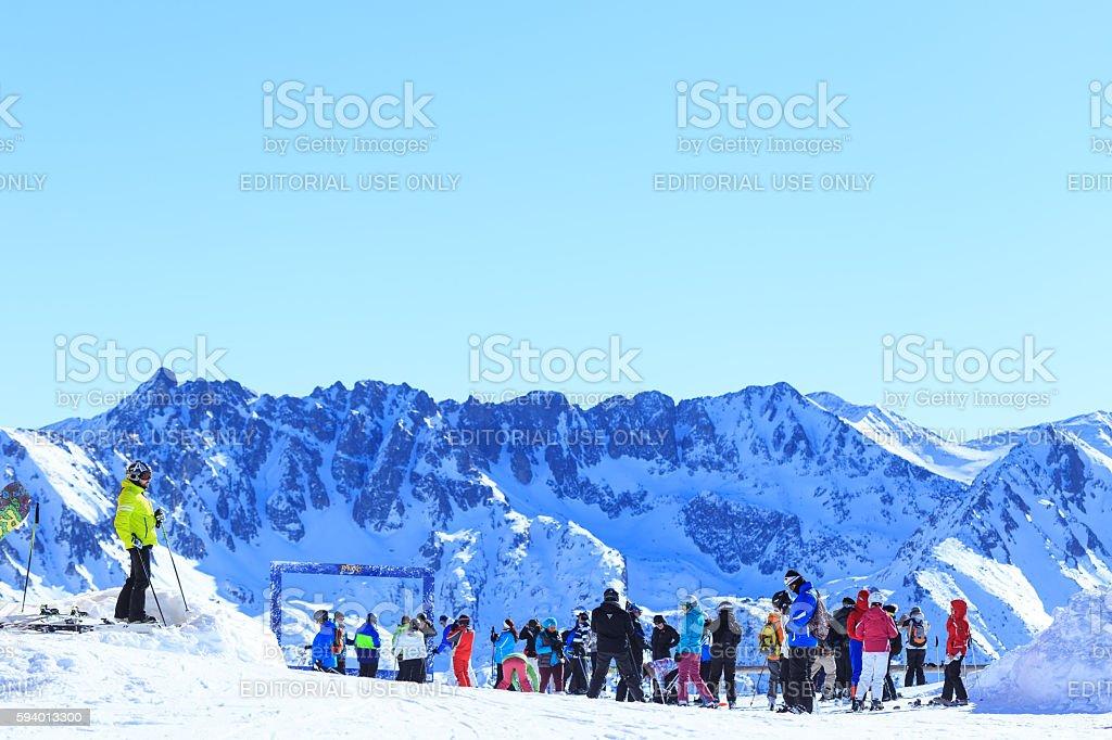 Ski resort tourists in Bansko, Bulgaria stock photo