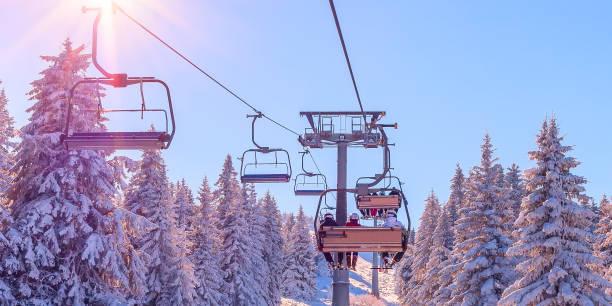Ski resort view, chair lift banner panorama stock photo