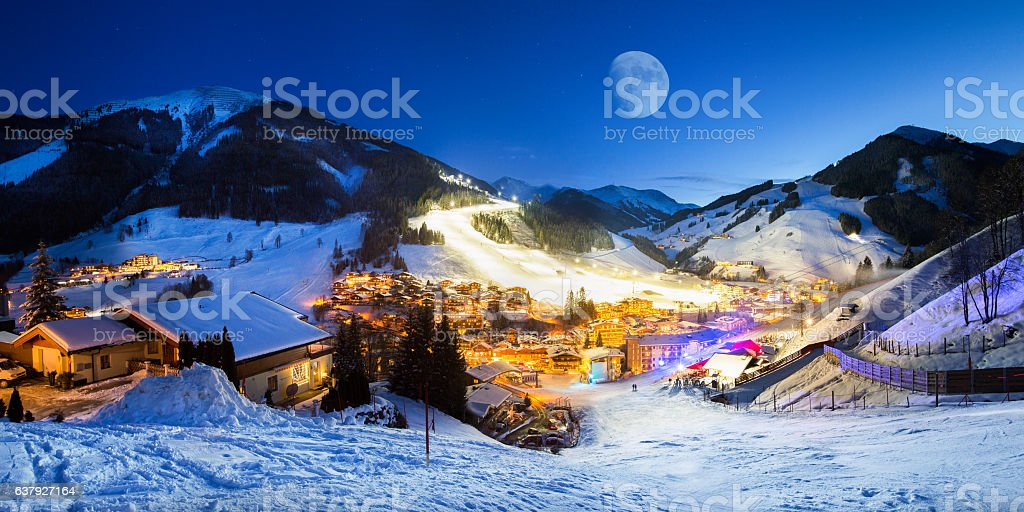 Ski resort village panorama alpine mountains landscape stock photo