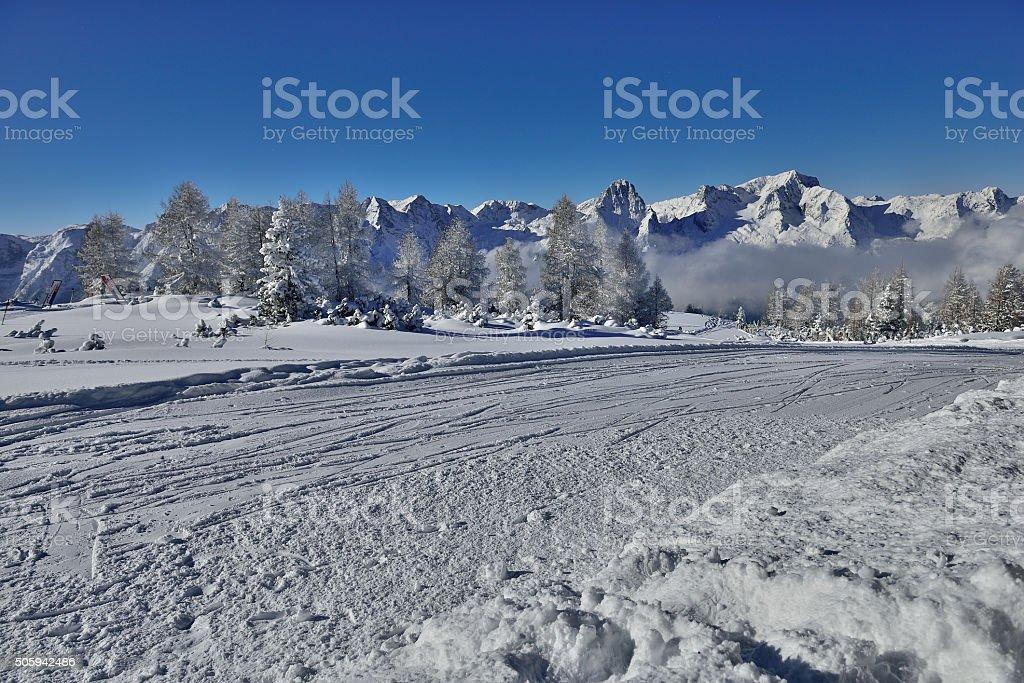 Ski Ressort Hinterstoder (Upper Austria) with mount Spitzmauer and Priel stock photo