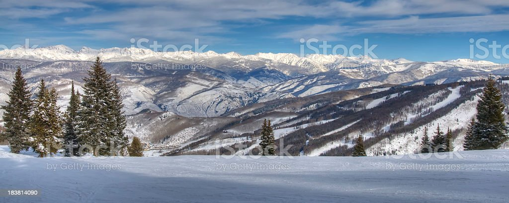 Ski runs on Beaver Creek Colorado  with Gore range background stock photo