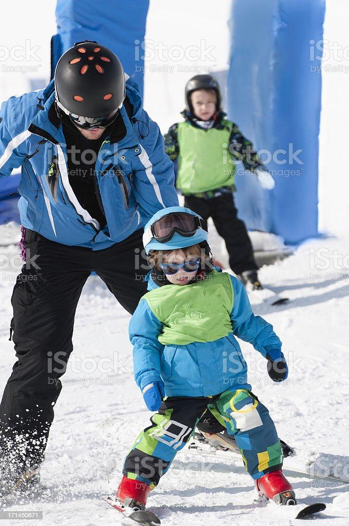 Ski school for little children stock photo