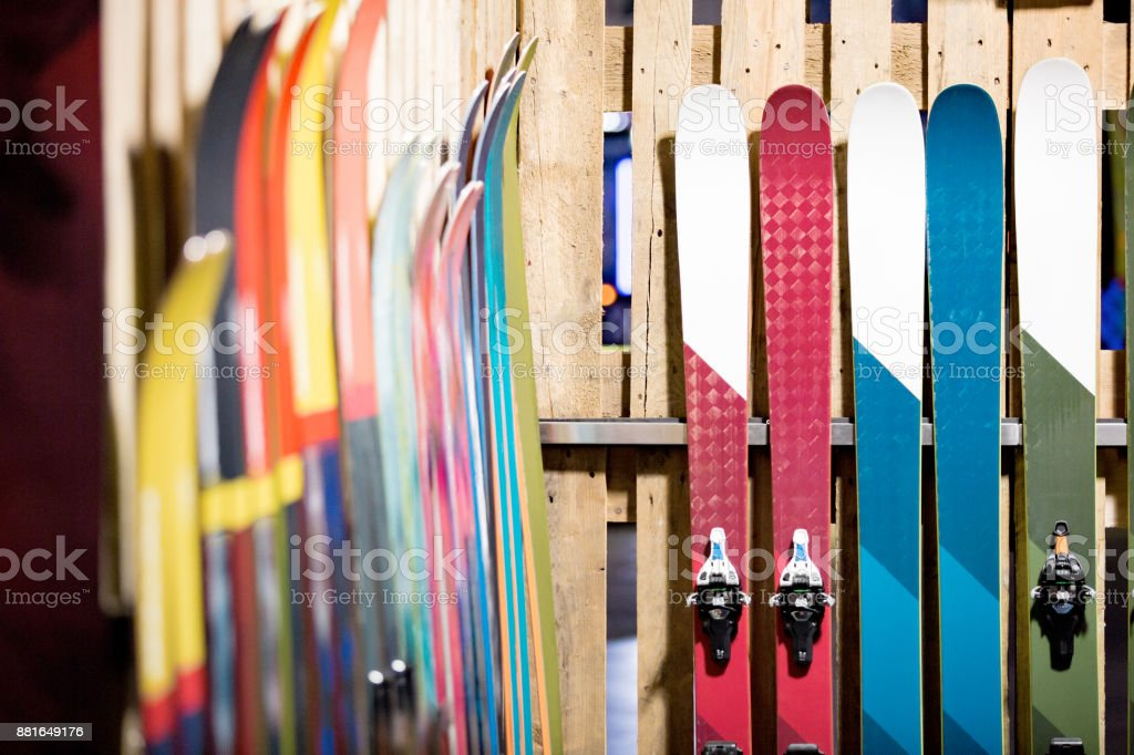 Ski shop sale stock photo
