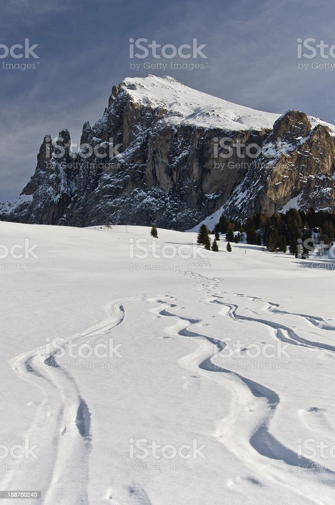 Ski signs close to Plattkofel stock photo