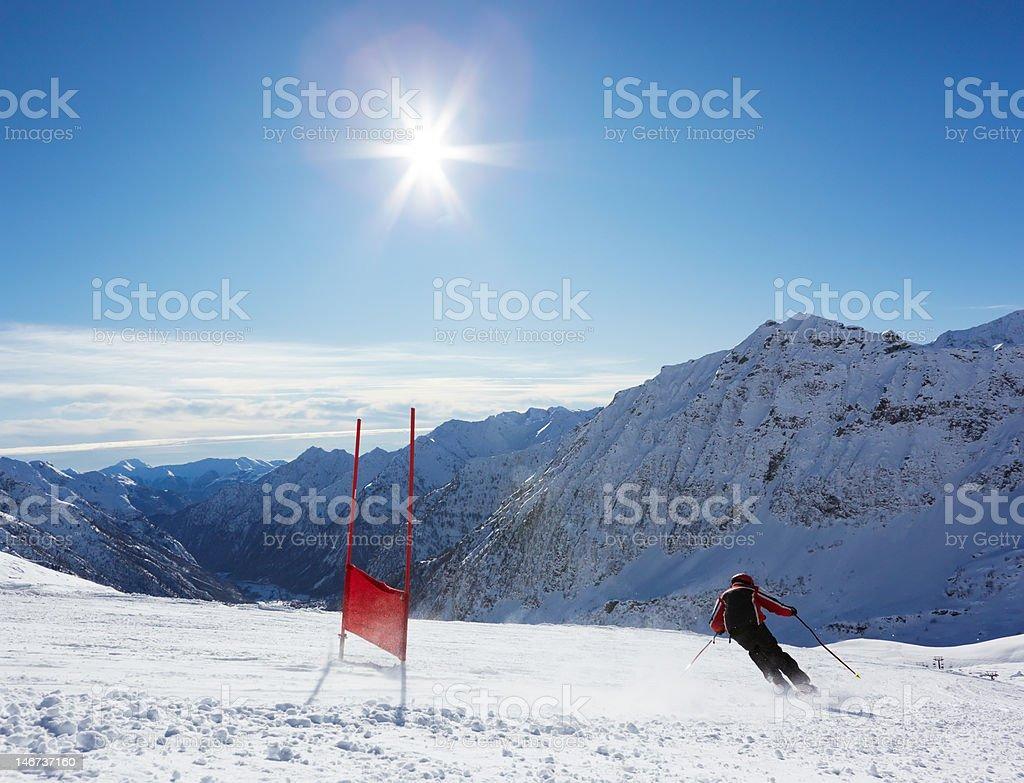 Ski slalom stock photo