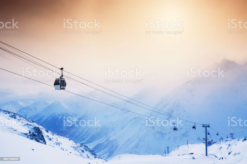 Ski slope and cable car on the ski resort Elbrus. royalty-free stock photo