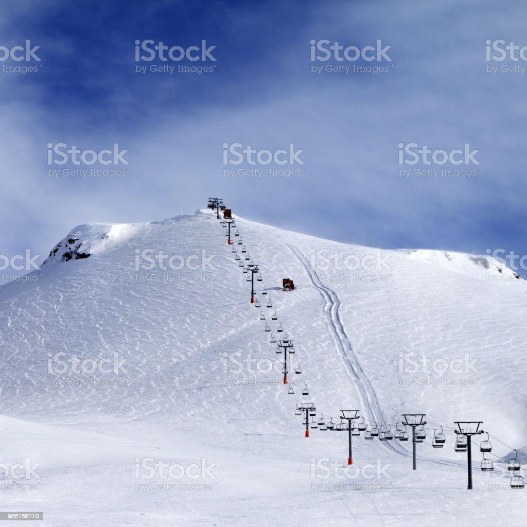 Ski slope and chair-lift at morning - Royalty-free Back Country Skiing Stock Photo