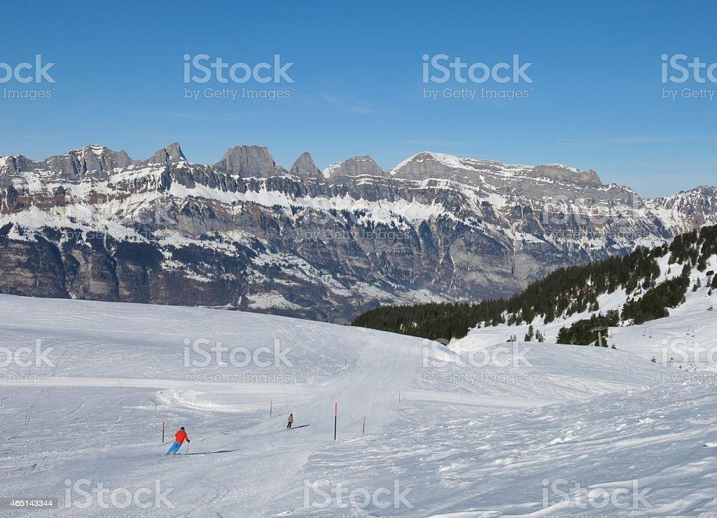 Ski slope and Churfirsten stock photo