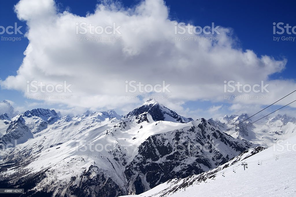 Ski slope at sun day royalty-free stock photo