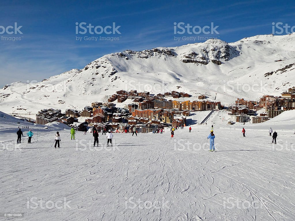 Ski slope at Val Thorens, the Alps, France stock photo
