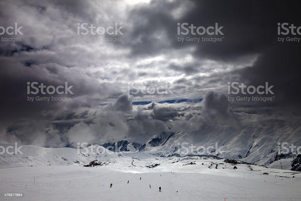 Ski slope before storm stock photo