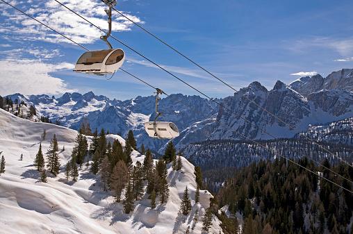Ski slope in Dolomites, Italy
