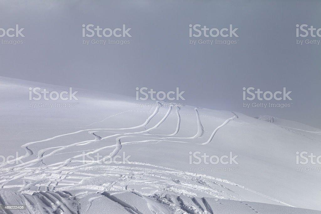 Ski slope in fog stock photo