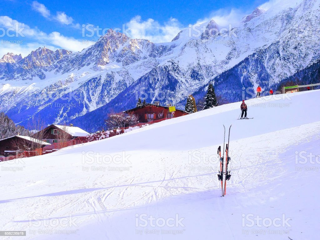 Ski slope in the mountains of ski resort Chamonix stock photo