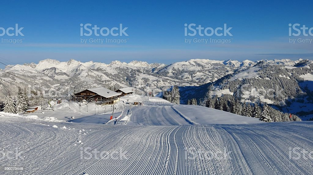 Ski slope on Mt Wispile, Gstaad stock photo