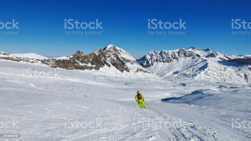 Ski slope on the Diablerets glacier and Sanetschpass. Winter scene in Switzerland. stock photo