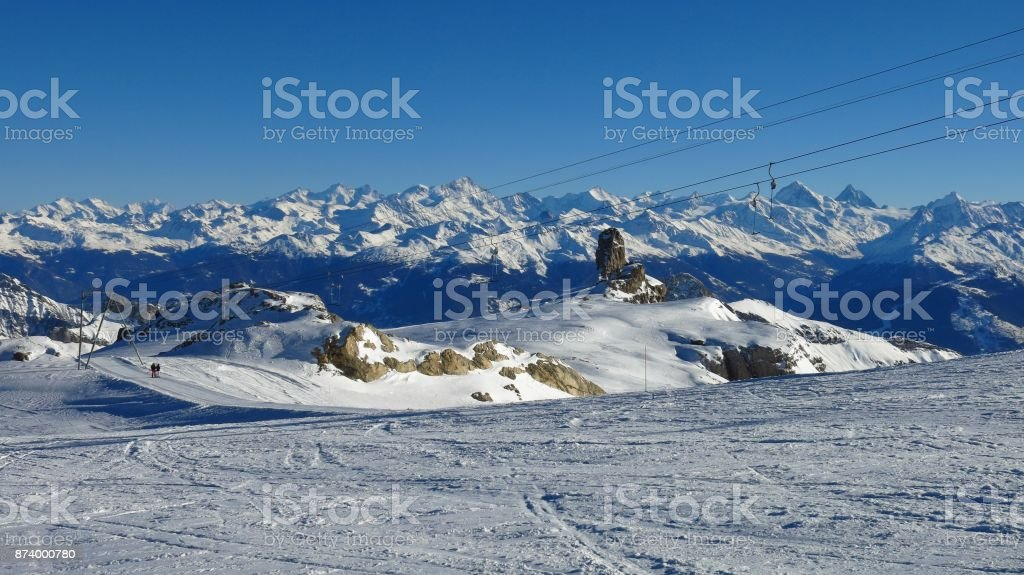 Ski slope on the Diablerets glacier and snow covered mountain ranges. Winter scene in Switzerland. stock photo