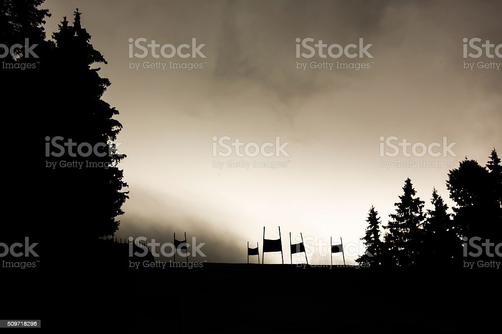 Ski slope silhouette stock photo