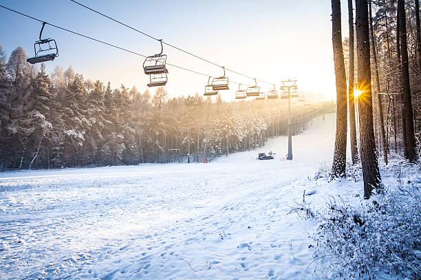 Ski Slope - Sunset stock photo