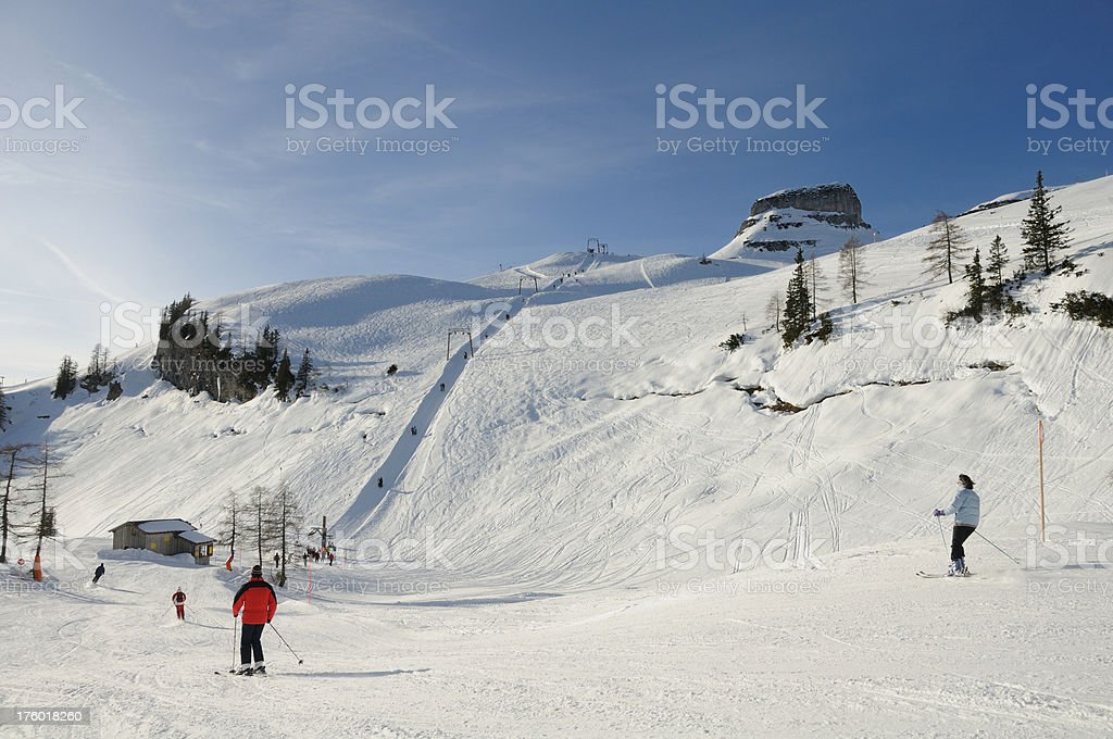 Ski Slope with a beautiful Winter Panorama royalty-free stock photo