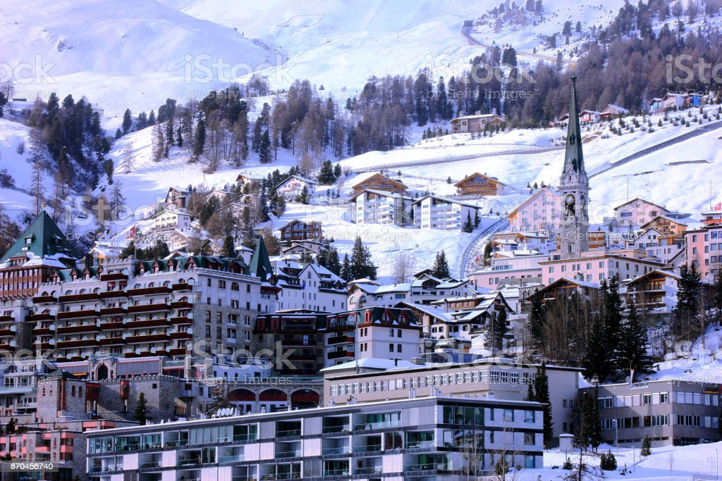 Ski slopes and apartments at St. Moritz, Switzerland stock photo