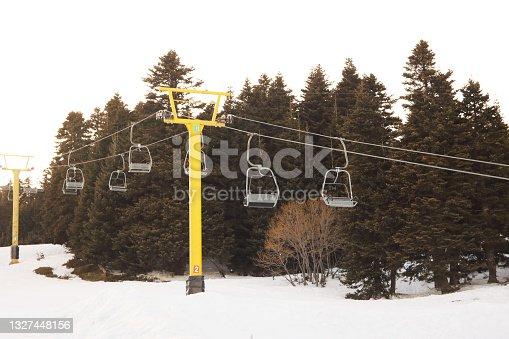 istock Ski slopes and ski lifts in ski resort. 1327448156
