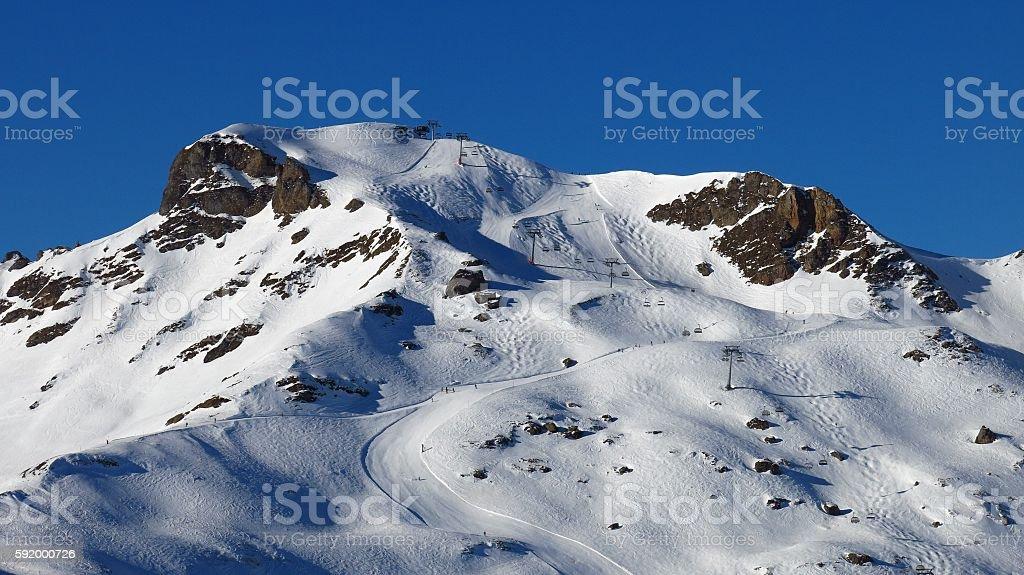 Ski slopes in Flumserberg, Switzerland stock photo