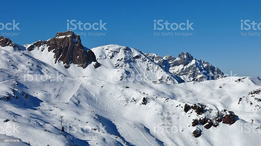 Ski slopes in the Flumserberg ski area stock photo