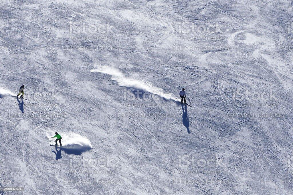 Ski slopes with skiers in Bansko, Bulgaria stock photo