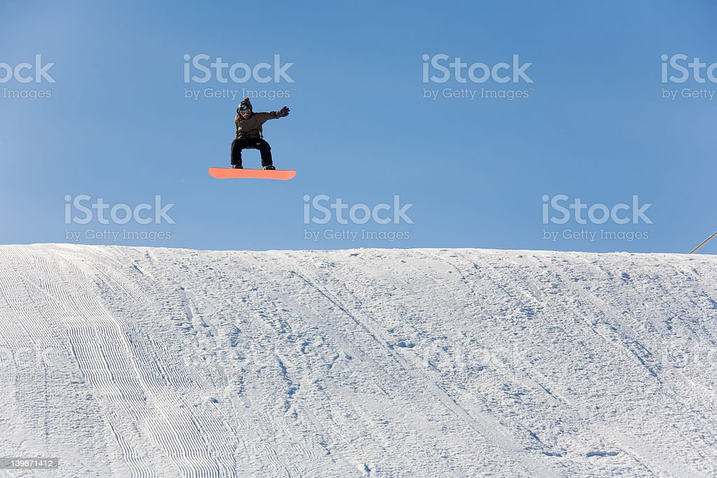 ski snowboad jump stock photo