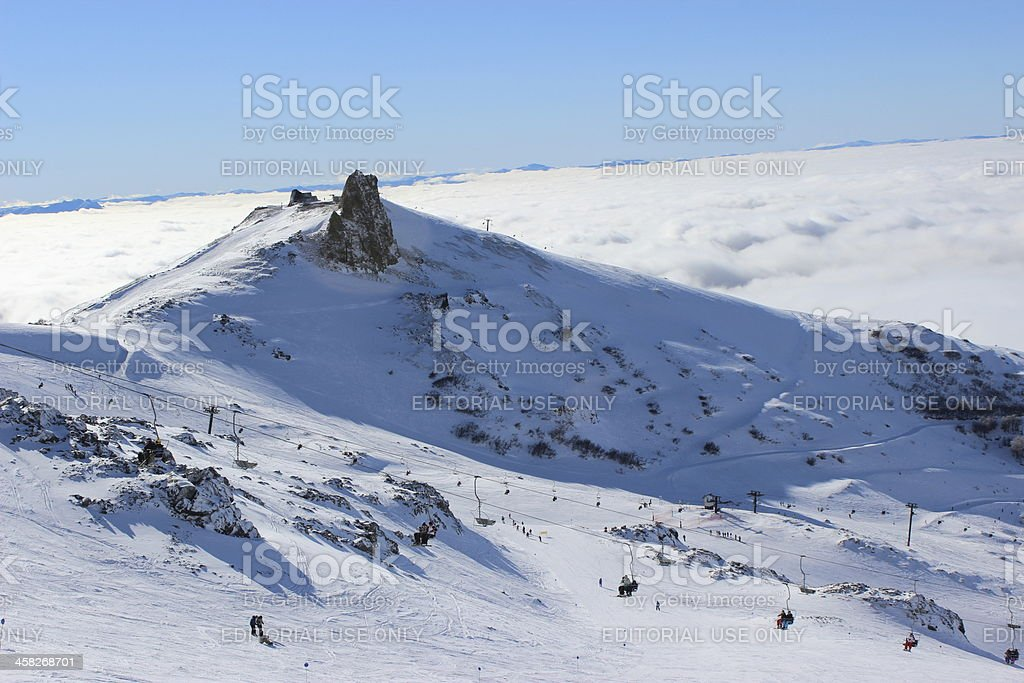 Ski station above the clouds at Andes mountains- Patagonia Argentina royalty-free stock photo