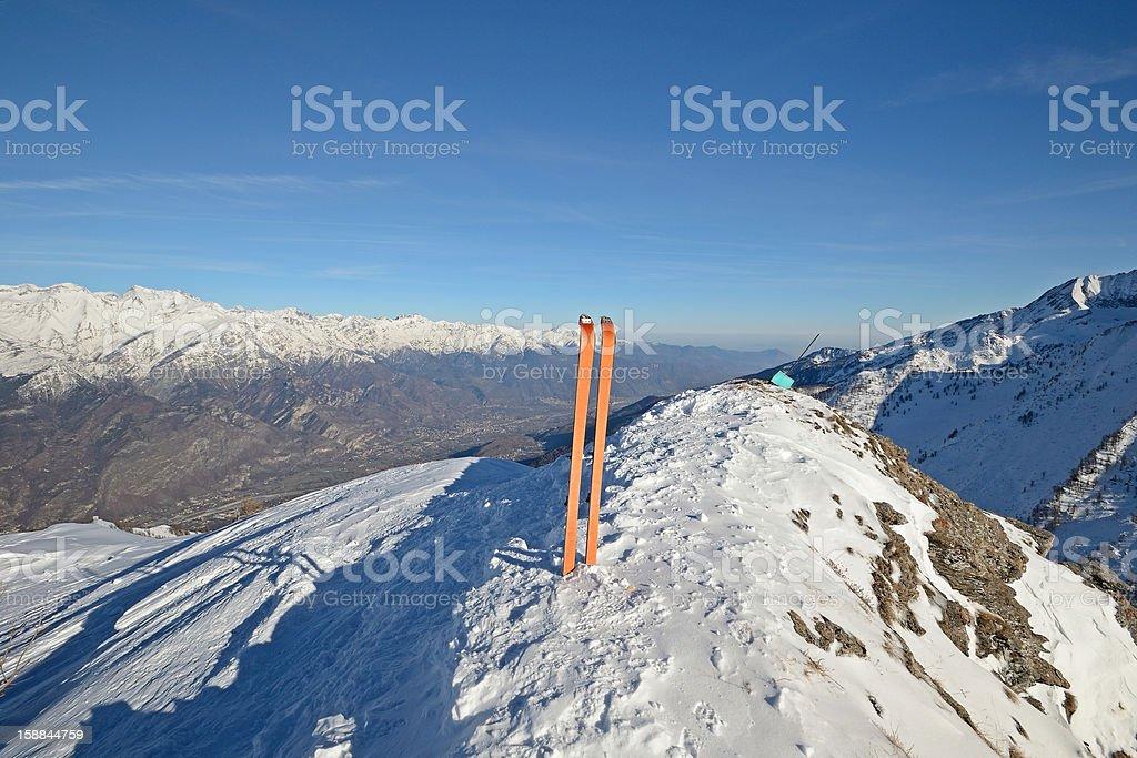 Ski touring exploration royalty-free stock photo