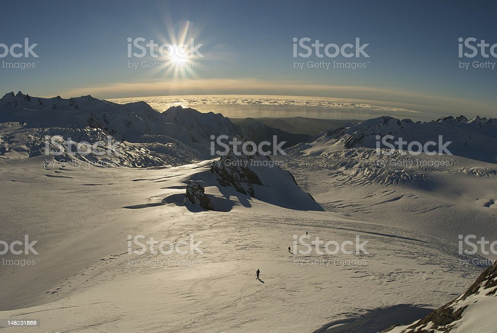 Ski touring Franz Josef Glacier, New Zealand stock photo