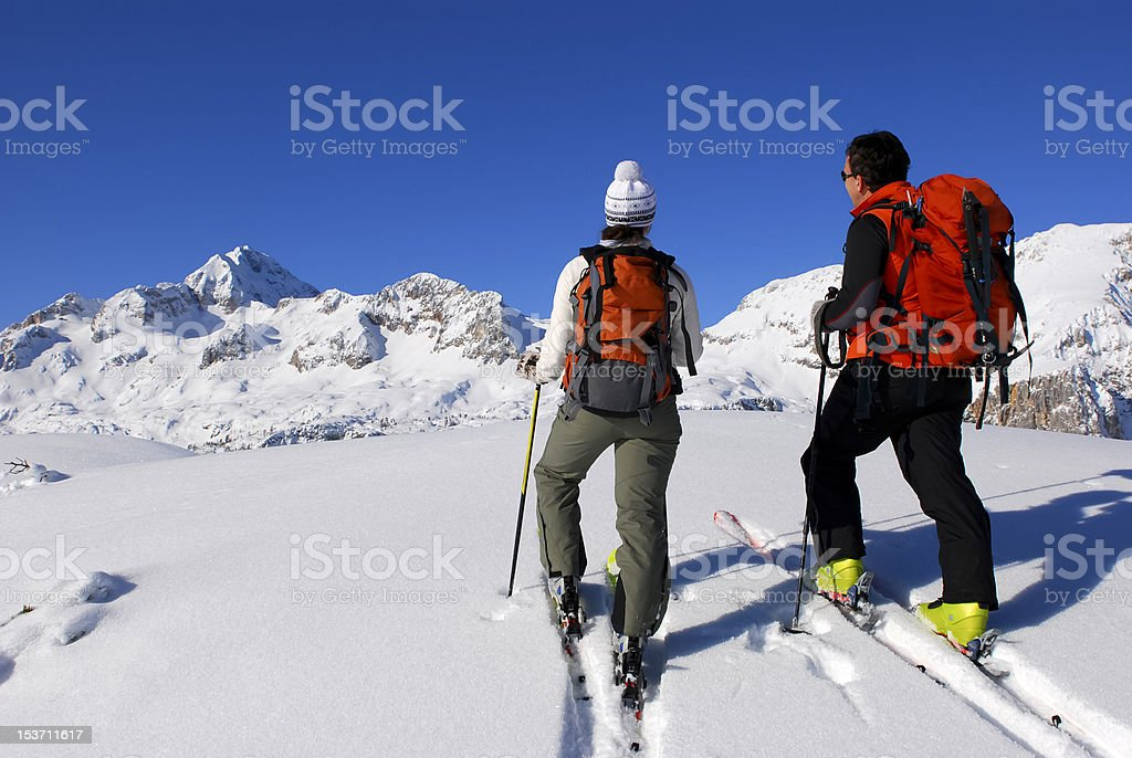Ski touring in Alps Mountains royalty-free stock photo
