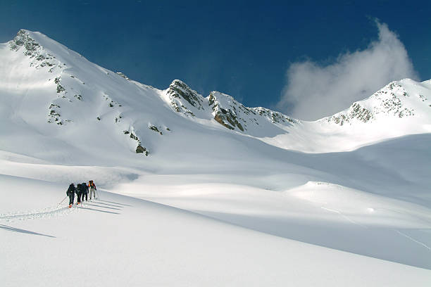 ski touring in canadian rockies - british columbia glacier national park stock pictures, royalty-free photos & images
