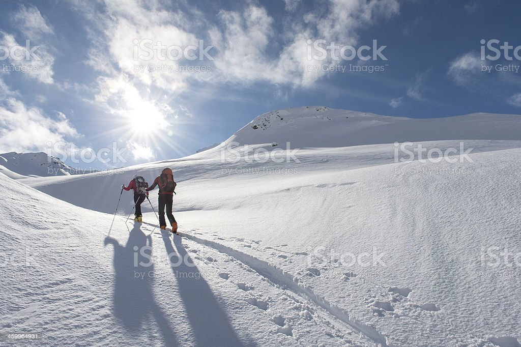 ski touring trails stock photo