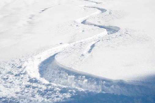 Ski track in fresh snow