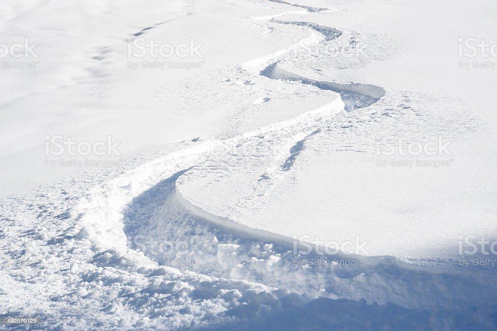 Ski track in fresh snow stock photo
