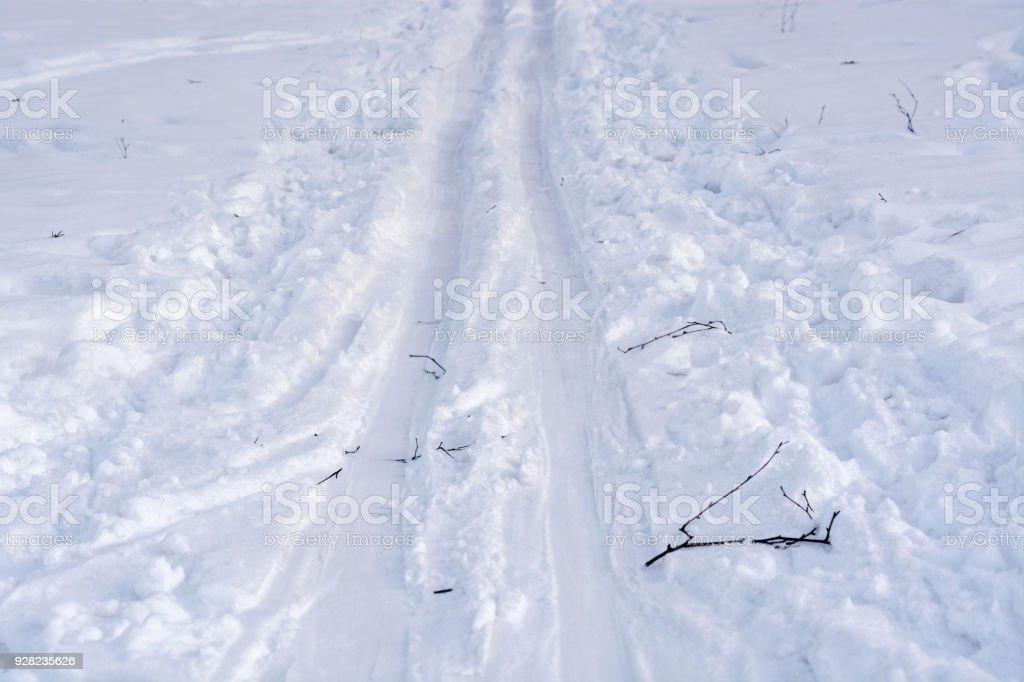 Ski track in the snow. stock photo