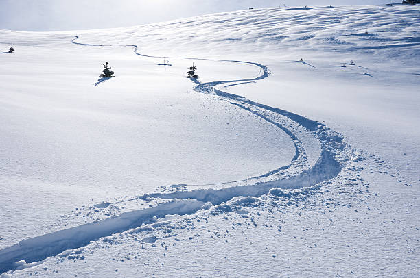 Ski Track on Mountain in Winter Ski Track on Mountain in Winter.  Textured snow and ski track coming down from top of mountain in Colorado.  Converted from 14-bit Raw file.  sRGB color space. beaver creek colorado stock pictures, royalty-free photos & images
