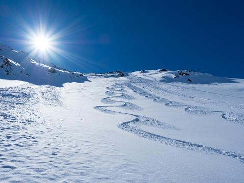 Ski tracks in deep snow