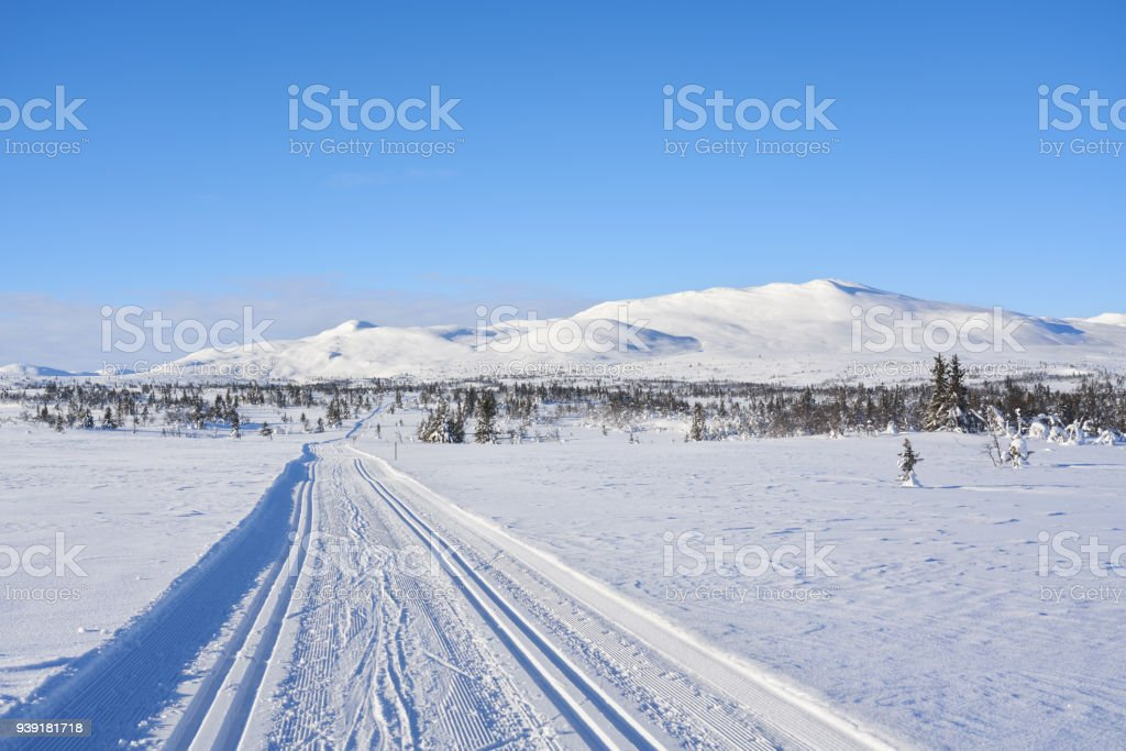 Ski tracks in the mountains, Synnfjell Oppland County Norway stock photo