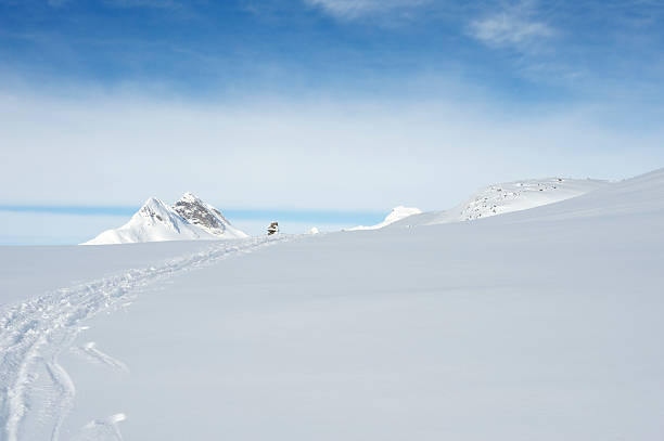 Ski tracks left by back country skiers in Jotunheimen, Norway stock photo