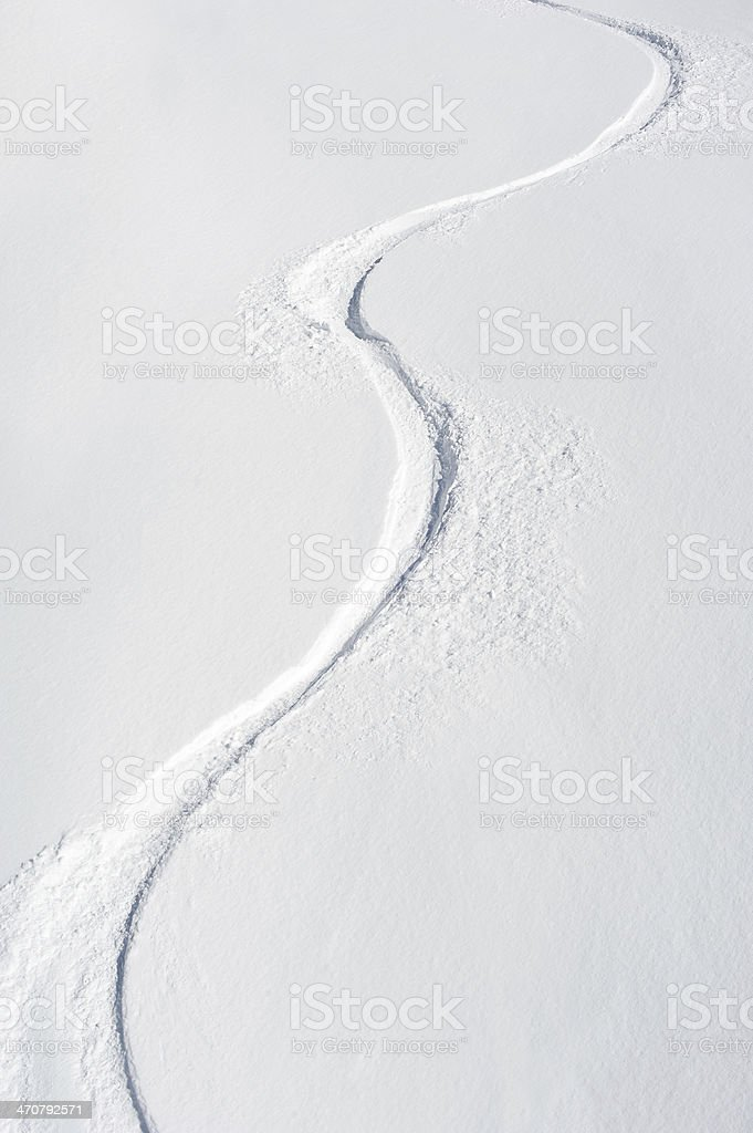 Ski Tracks on a Slope stock photo