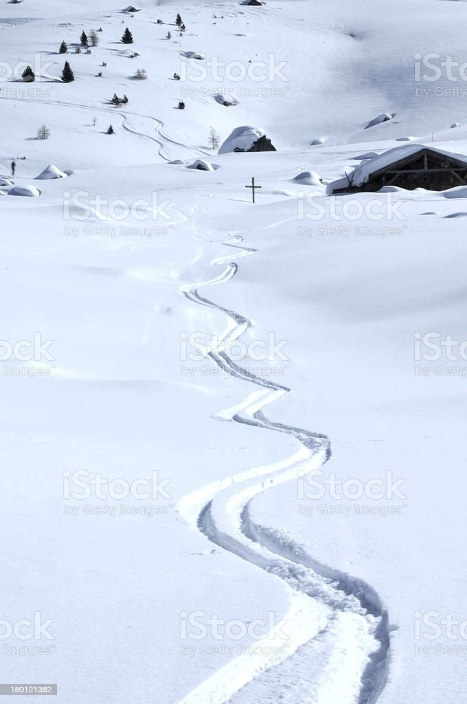 Ski Tracks royalty-free stock photo