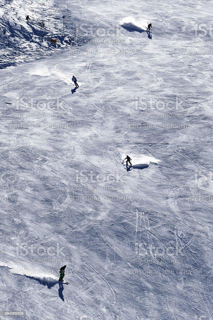 Ski tracks with skiers in Bansko, Bulgaria stock photo